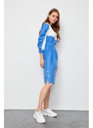 Setre Ekru-Mavi V Yaka Cepli Elbise Ekru